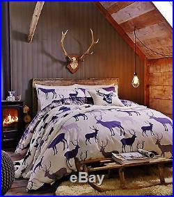 Catherine Lansfield Navy Flannelette/Brushed Cotton Grampian Stag Bedding