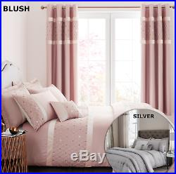 Catherine Lansfield Sequin Cluster Duvet Cover Set Silver or Blush Pink