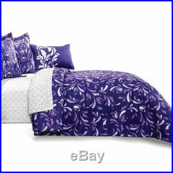 Charlotte Purple With White Floral Reversible Comforter Set and Sheet Set