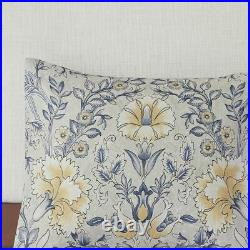 Chic 6pc Blue & Yellow Botanical Floral Comforter Set AND Decorative Pillows