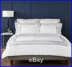 Christy Deco Navy Double Duvet Set 100% Cotton Sateen 300 TC With Embroidery