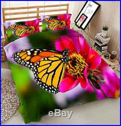 Colorful Butterfly 3D Printing Duvet Quilt Doona Covers Pillow Case Bedding Sets