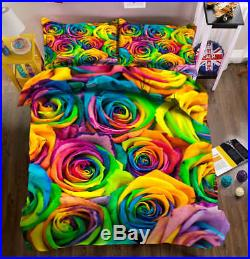 Colourful Roses 3D Printing Duvet Quilt Doona Covers Pillow Case Bedding Sets