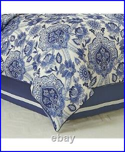 Croscill Leland Imperial Blue CAL King Comforter Bed Set With Bed Skirt