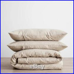 Cultiver 100% Woven Flax Linen Duvet Cover Set in Natural Double (RRP £290)