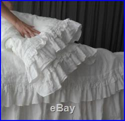 DUVET COVER SET of 3pc. Duvet cover and two pillowcase with ruffles. Rustic style