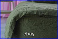 DUVET COVER set & pillow with envelope closures green khaki Stone Washed