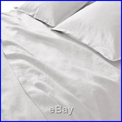 Double Duvet Cover Set 100% White Washed Linen Luxury Premium Quality RRP£205