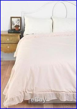 Double Size Bed Ruffle Shabby Pink Rose Chic Ruffled Duvet Doona Quilt Cover Set