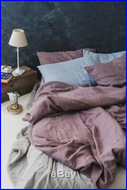 Dusty Purple Stonewashed Linen Bed Set Duvet Cover With Pillowcases Bedding Set