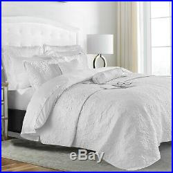 Embroidered Brushed Cotton Duvet Cover Set Quilted Bedspread Throw Double King