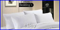 Extra Pillow & Fitted Sheet 800 TC 100% Egyptian Cotton UK Hotel in White Solid