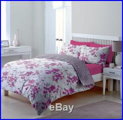 Floral White Pink Striped Double Bed Duvet Cover 2 Pillowcases Set Bedding