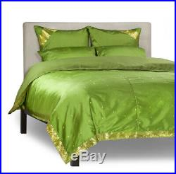 Forest Green-5 Piece Sari Duvet Cover Set with Pillow Covers/Euro Sham