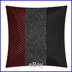 Full Queen Cal King Bed Red Black Gray Grey Geometric Striped 7 pc Comforter Set
