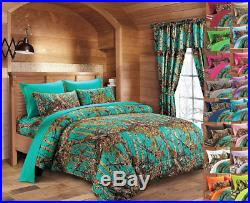 Full Size 17 Pc Teal Camo Set! Comforter Sheet 2 Curtains Camouflage Blue Green