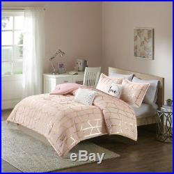 Fun Cozy Modern Chic Pink Gold White Soft Geometric Stripe Girls Comforter Set
