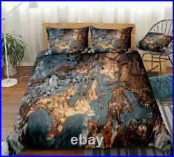 Gold Black Marble Abstract Art Double Single Quilt Duvet Pillow Cover Bed Set
