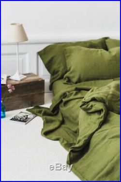Green Moss Stonewashed Linen Bed Set Duvet Cover With Pillowcases Bedding Set