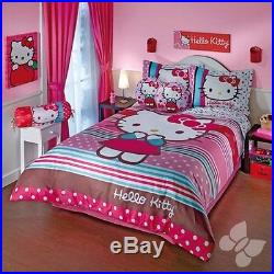 Hello Kitty Rainbow Printed Duvet Set Double Sided Girls Room Bedding Bed Cover
