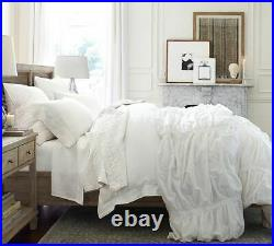 Irregular Pottery Barn Hadley Ruched Cotton Duvet Cover 4 Pcs Set (Size Double)