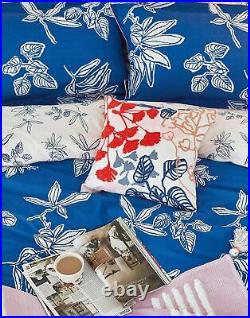Joules Cotton Duvet Cover Set With Matching Oxford Pillowcases Blue Floral