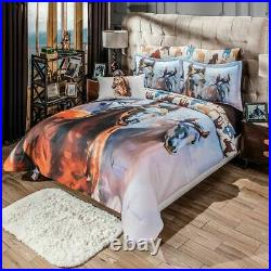 Kentucky Blue with Brown Horse Print Reversible Comforter Set with Sheet Set