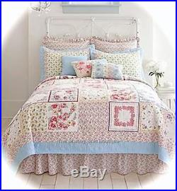 Kids 6pc Double Bed Quilt Shams Valance 2 Pillow Set Girls Hamptons Cottage Chic