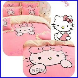Kids Hello Kitty Bedding Duvet Cover Bedding Set COTTON Twin Full/Queen, King