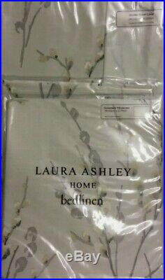 LAURA ASHLEY Pussy Willow Dove Grey Double Duvet Bedding Set + 2 Pillowcases