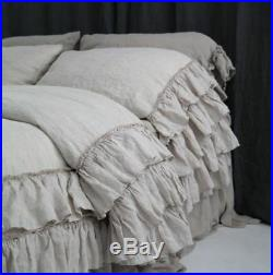 LINEN DUVET COVER. Linen bedding set. French style thick ruffled stonewashed