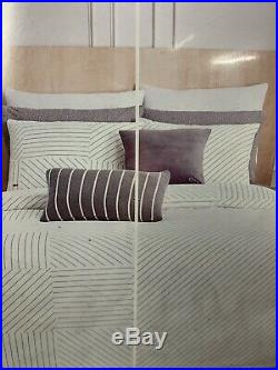 Lacoste Doubles Collection Queen Full Guethary Comforter Set Stripe White 3Pc