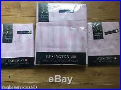 Lexington American Authentic Pin Point Double Duvet Set In Pink And White, New
