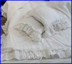 Linen set Ruffled Linen Duvet Cover and two Pillowcases ruffles shabby chic bed