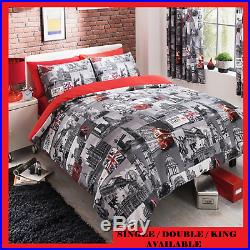 London Bus City Luxury Duvet Covers Quilt Reversible Bedding Sets All Sizes