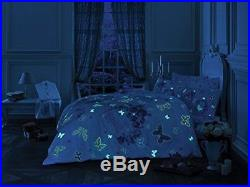 Love Roses Bedding Duvet Cover Set, Glow In the Dark 100% Cotton Full Double 4Pc