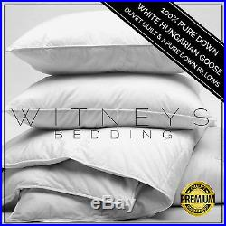 Luxury 100% Pure WHITE HUNGARIAN GOOSE DOWN Duvet Quilt & Pure Down Pillow Set