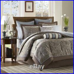 Luxury 12pc Blue & Taupe Jacquard Weave Comforter Set AND Sheet Set