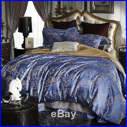 Luxury 4pc. Blue & Gray Jacquard Embroidered King Queen Cotton Duvet Cover Set