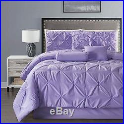 Luxury 7 PCS Double-Needle Stitching Pinch Pleated Lilac Comforter Set New