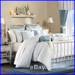 Luxury Blue White Shells Motif Quilted Cotton Comforter Set AND Decorative Shams
