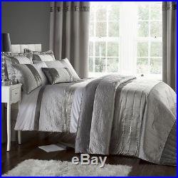 Luxury Gatsby Silver Duvet Cover Bedding Set By Catherine Lansfield & Optinal Ac