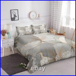 Luxury Grey Gold Leaf Floral King Double Single Quilt Duvet Pillow Cover Bed Set