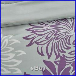 Luxury Purple Grey & White Floral Comforter Set AND Matching Sheet Set SIZES