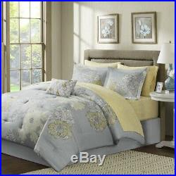 Luxury Soft Grey & Yellow Floral Comforter Set AND Matching Sheet Set