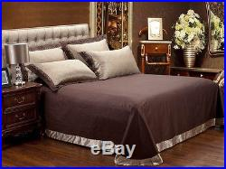 MAJESTY 4-Piece Luxury Sheets Duvet Cover Set Chocolate (Double/Full, Queen)