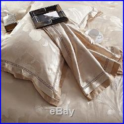 MAJESTY 4-Piece Luxury Sheets Duvet Cover Set Gold Leaves (Double/Full, Queen)