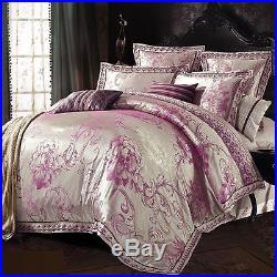 MAJESTY 4-Piece Luxury Sheets Duvet Cover Set Silver Rose (Double/Full, Queen)