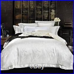 MAJESTY 4-Piece Luxury Sheets Silky White Duvet Cover Set, Queen, Double/Full