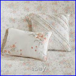 Madison Park 100% Cotton Set Floral Print Double Sided Quilting All Season Li